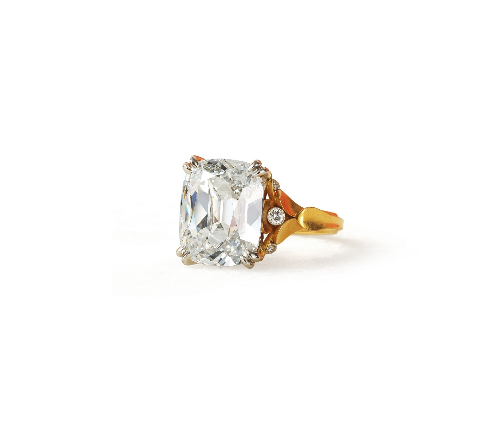 mcteigue mclelland cushion cut antique engagement ring on gold band