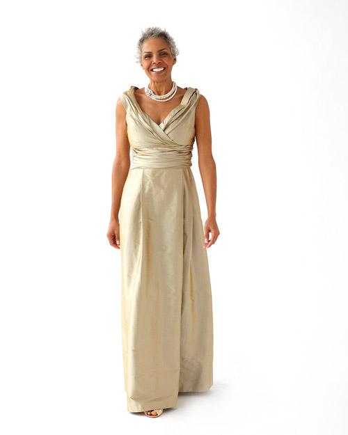 Long, Champagne-Colored Dress