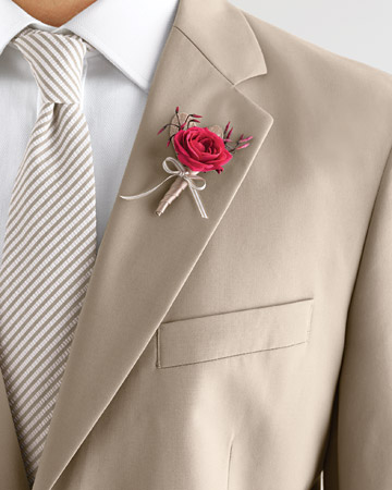 Fuchsia and Taupe Boutonniere