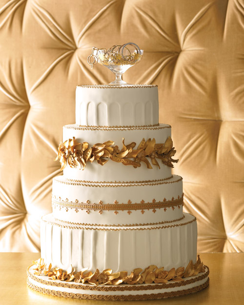 Wedding Cake with Golden Flowers and Foliage