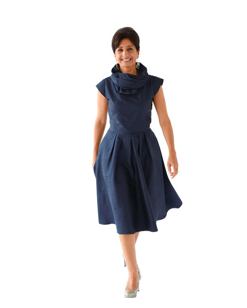Navy Dress with Cowl Neck