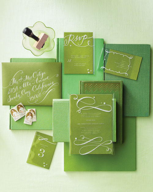 White and Green Stationery