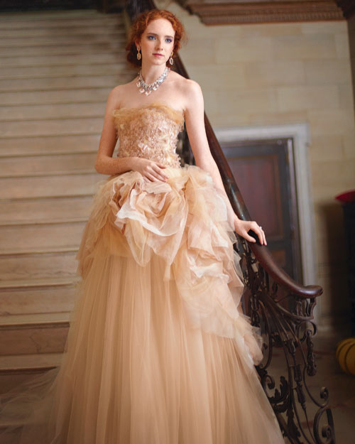 Romantic Blush-Colored Wedding Dress