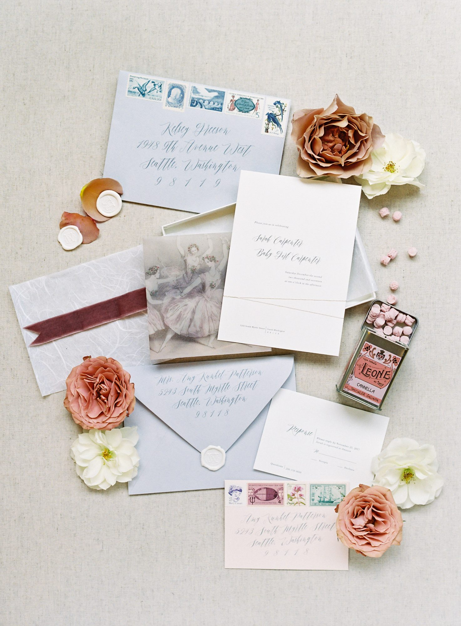 wedding invitation negative space string accents