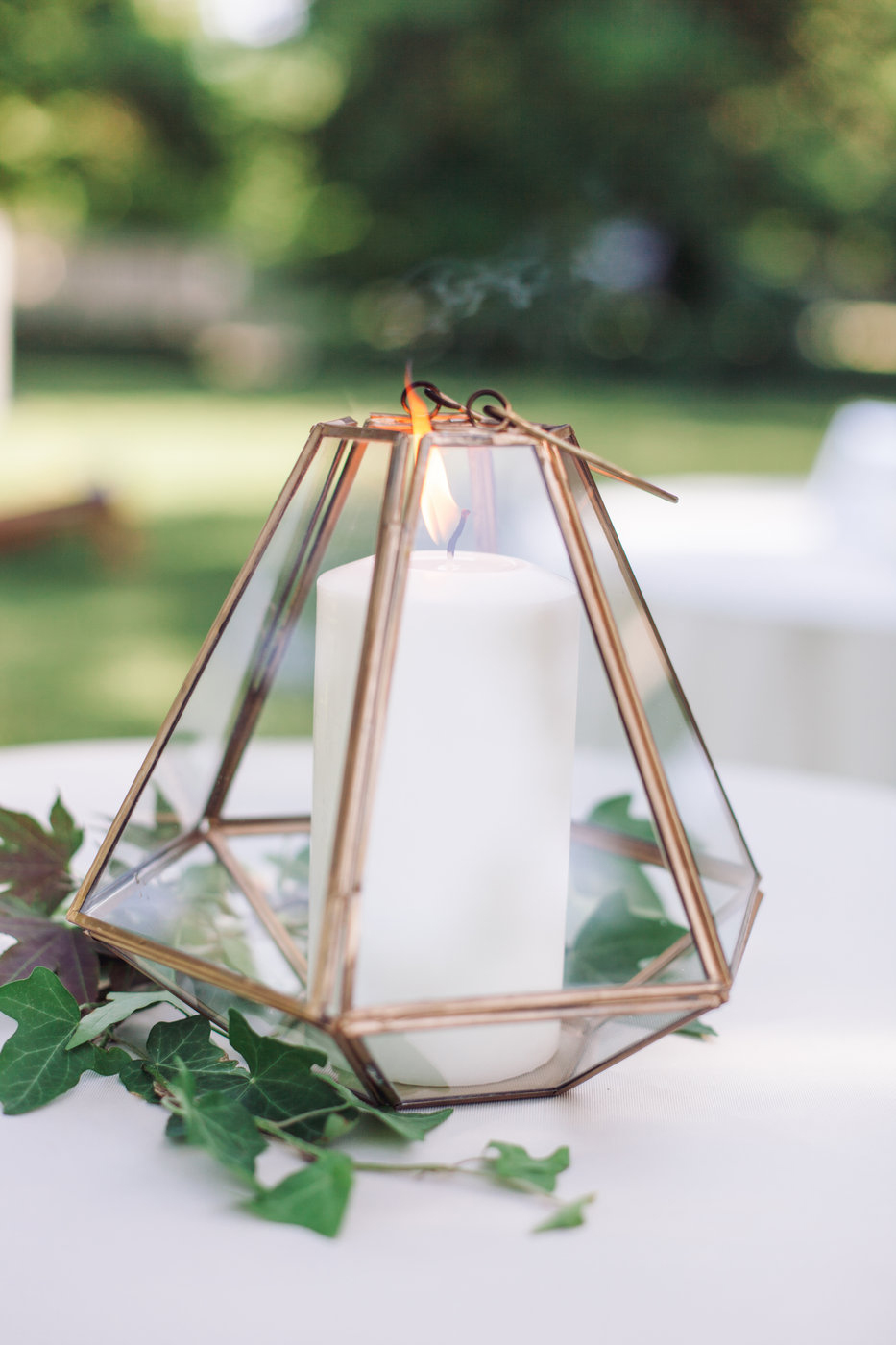 non-floral wedding centerpieces geometric lantern