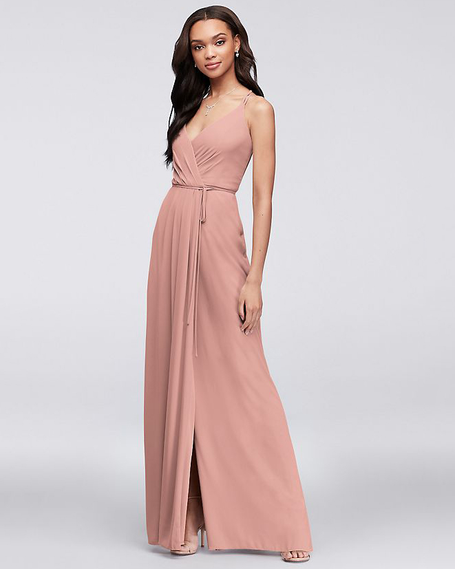 pink bridesmaids spaghetti strap v-neck dress