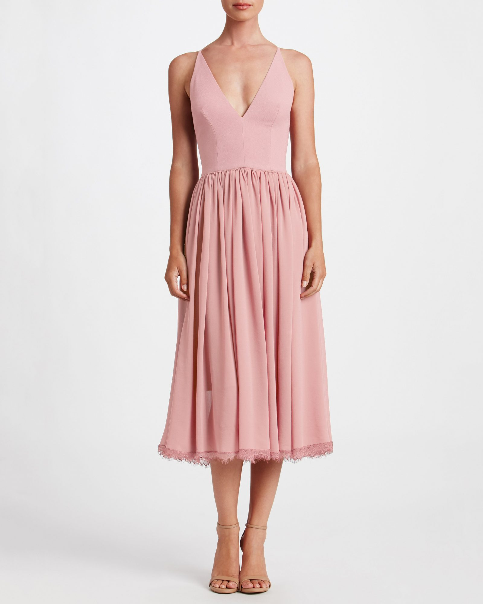 pink bridesmaid tea dress v-neck