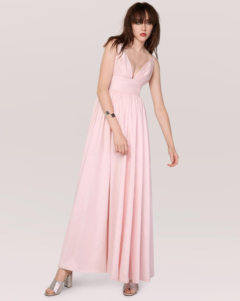 pink sheath bridesmaid dress v-neck