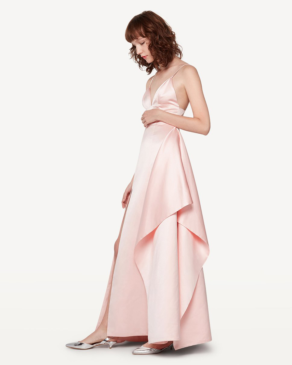 pink high slit bridesmaid dress spaghetti strap