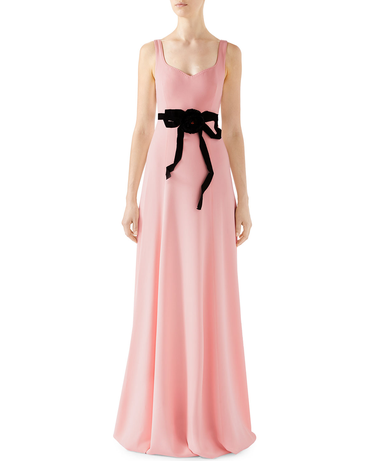 pink sheath bridesmaid dress with black bow tie