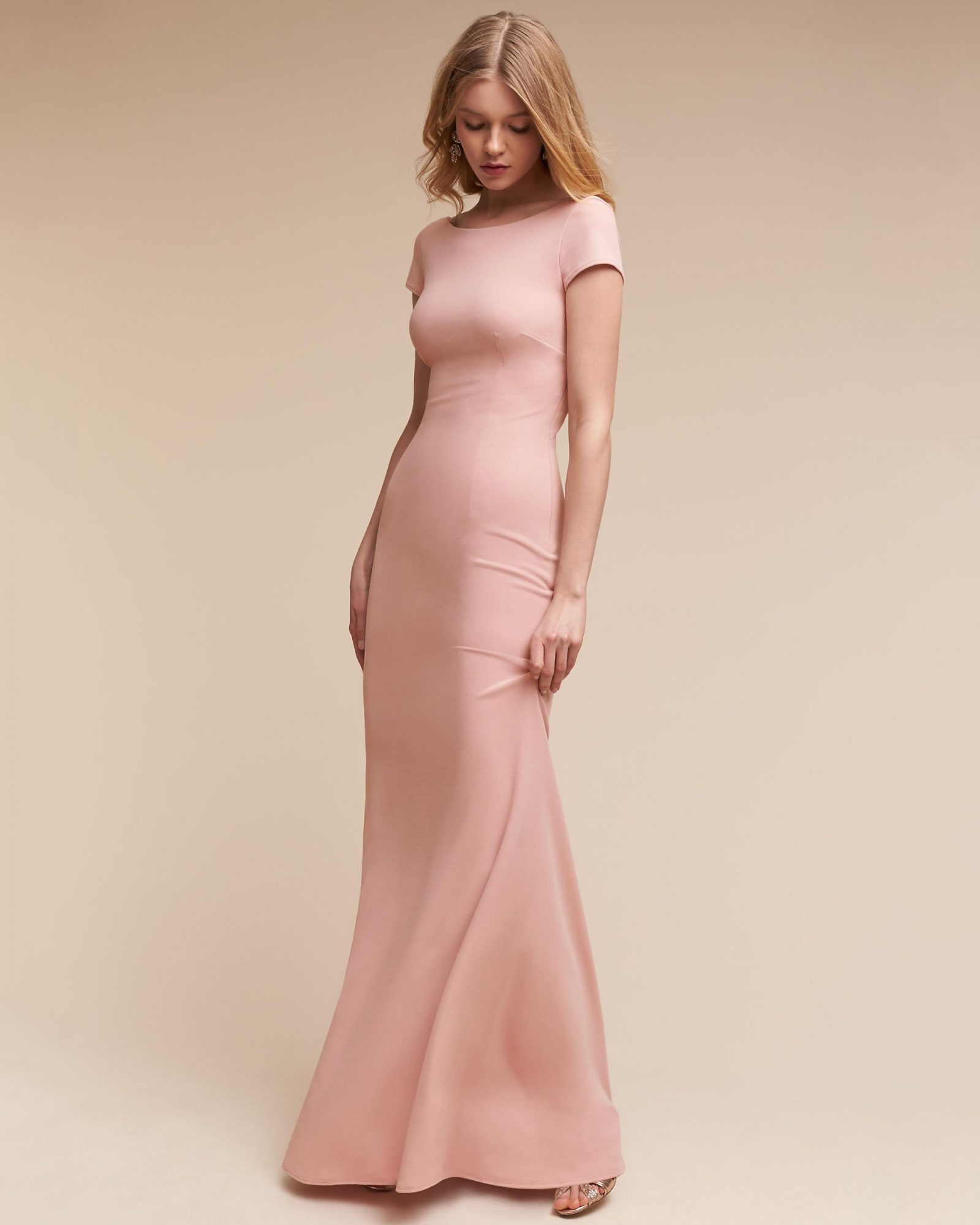 pink sheath bridesmaid dress short sleeve
