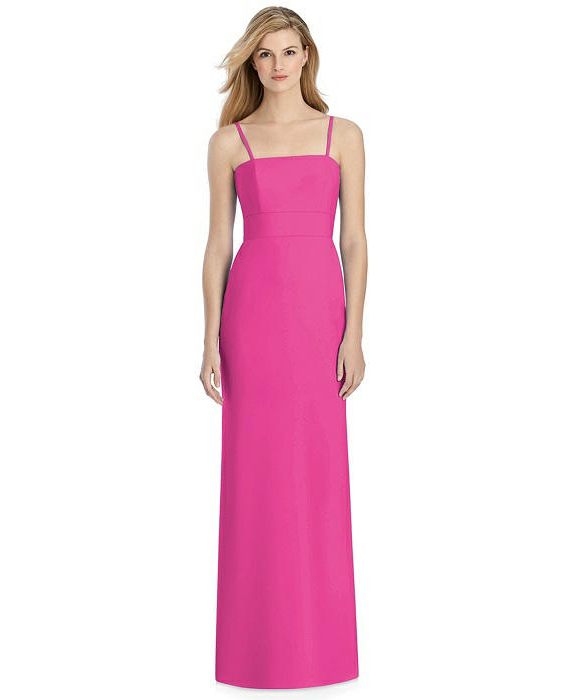 pink sheath bridesmaid spaghetti strap dress