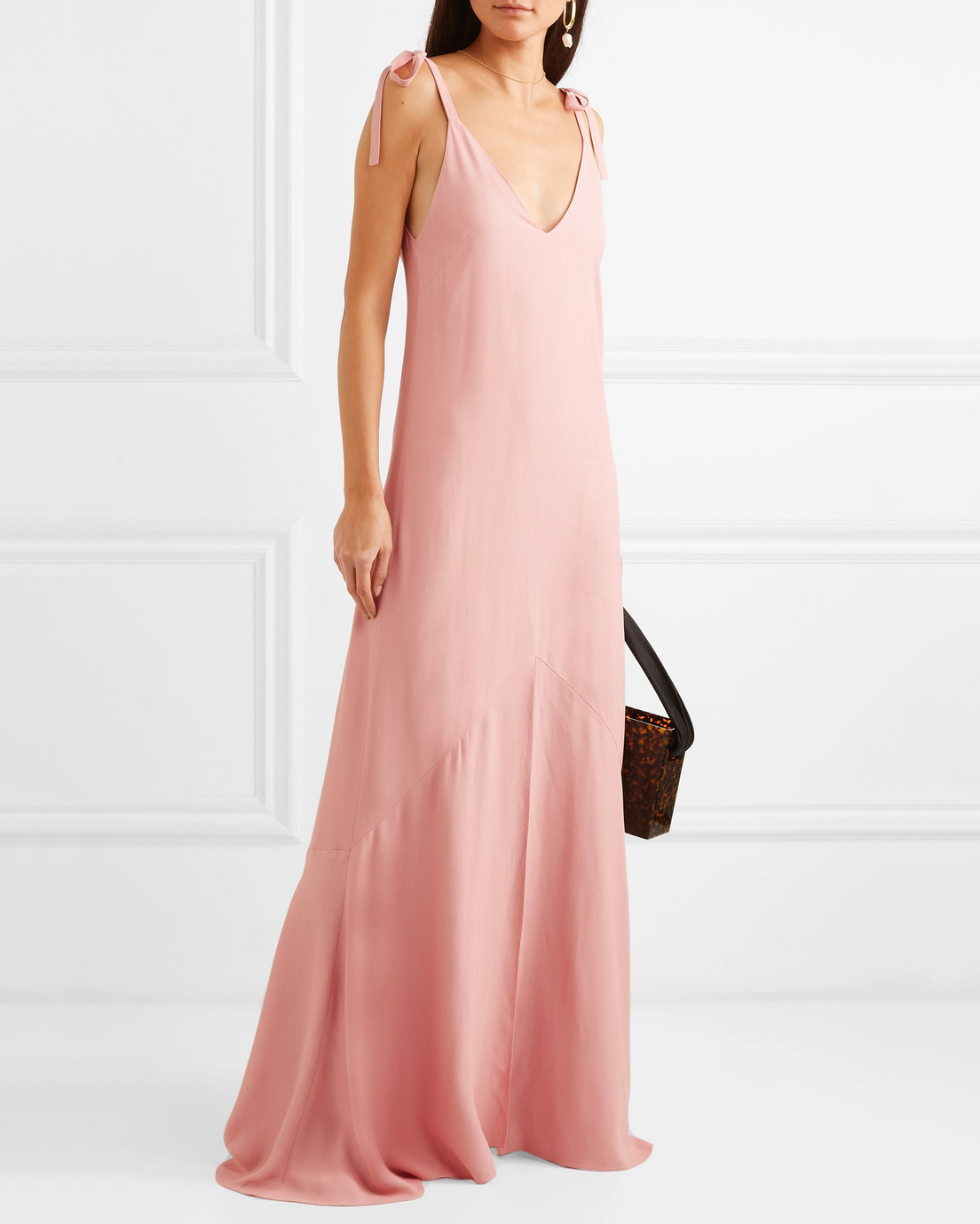 pink a-line bridesmaid v-neck dress