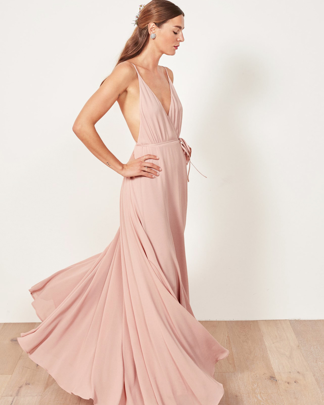 pink a-line spaghetti strap bridesmaid dress