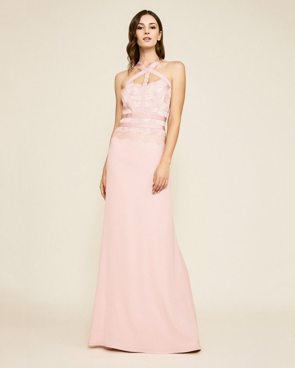 pink sheath bridesmaid halter cutout dress