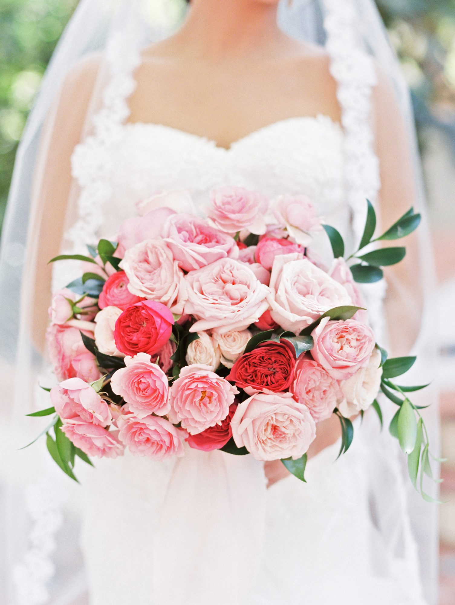 red-and-pink wedding bouquet