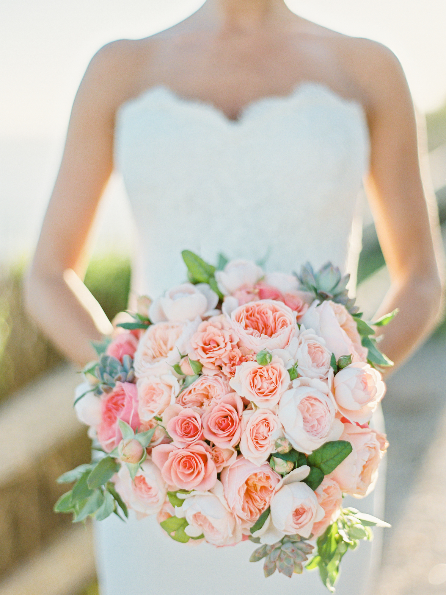 pink wedding bouquet succulents
