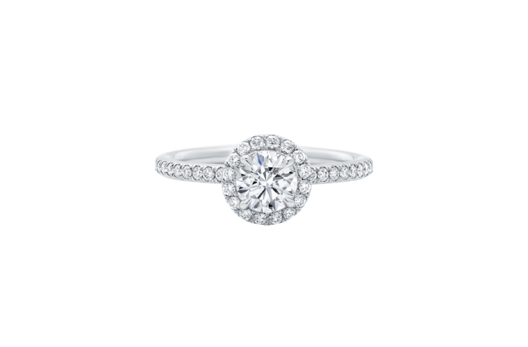 """Harry Winston """"The One"""" Round Brilliant Diamond Micropavé Engagement Ring"""