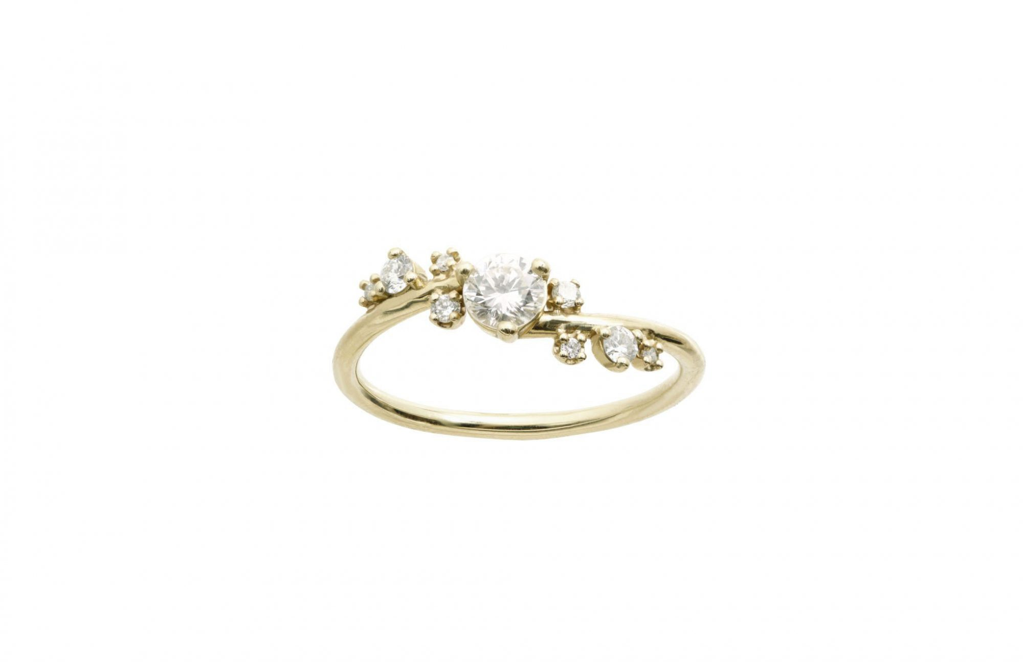 round cut ring crossover gold band with scattered diamonds