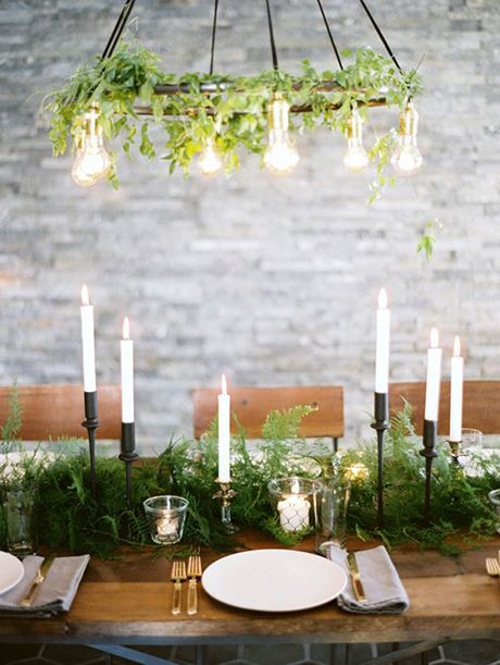 rustic wedding centerpieces industrial candle greenery place setting