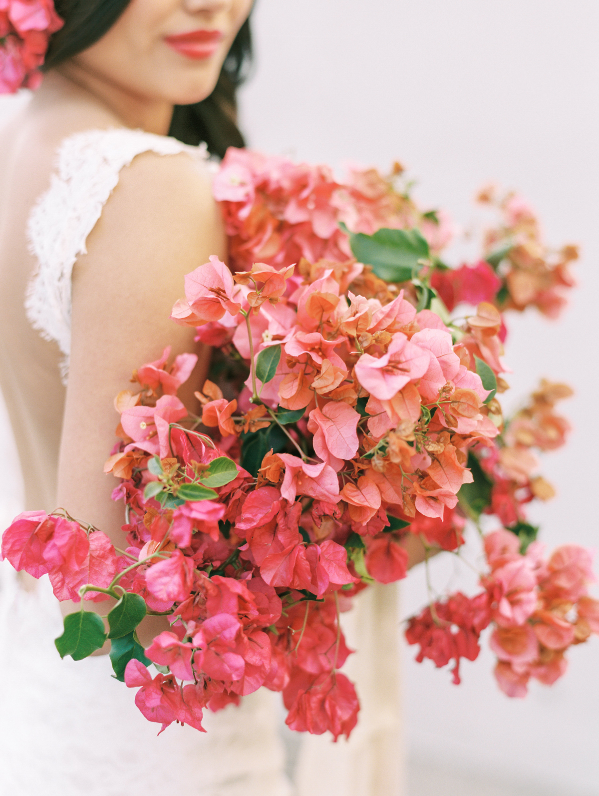 single flower wedding bouquet begonias
