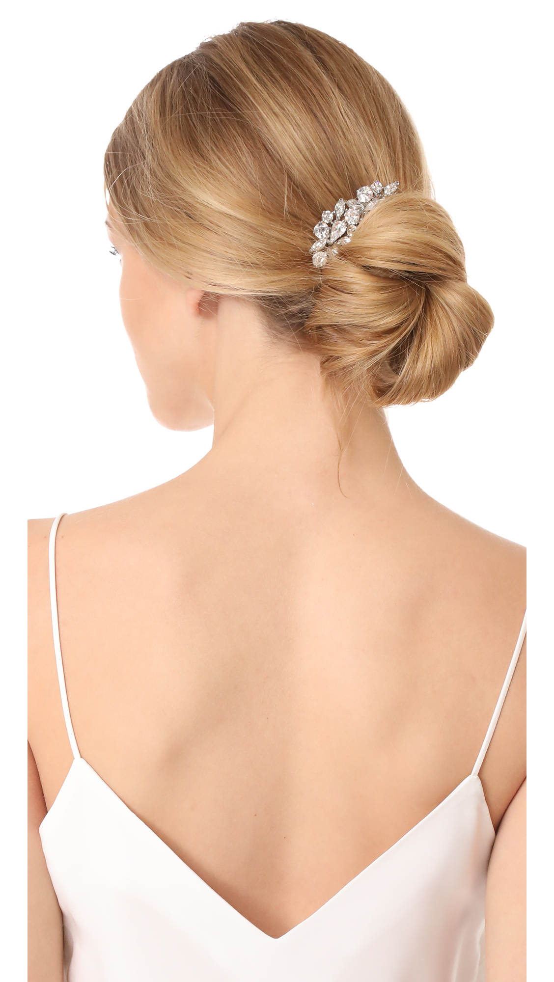 blonde haired woman wearing Crystal Cluster Hair Comb above bun