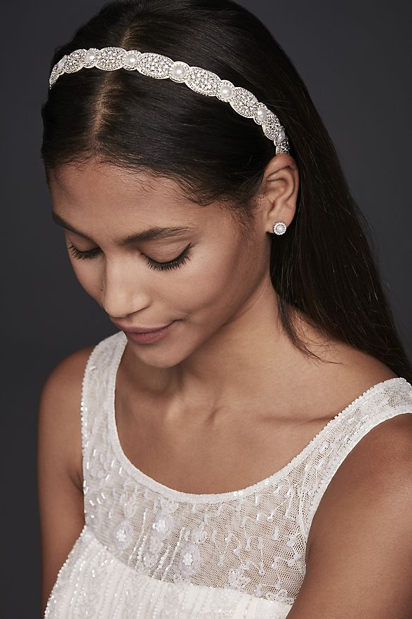 woman wearing Pearl Halo and Crystal Medallion Headband