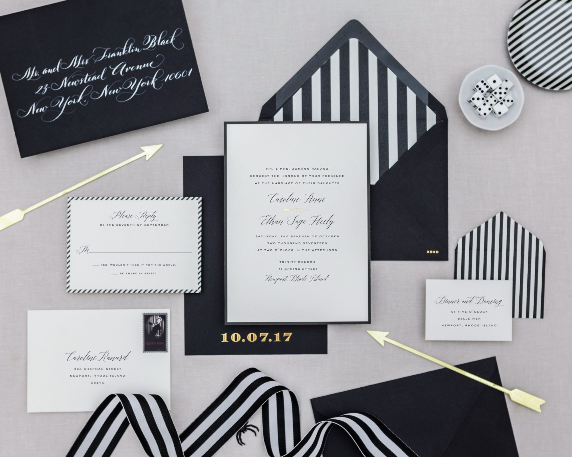 black and white striped modern invitations set