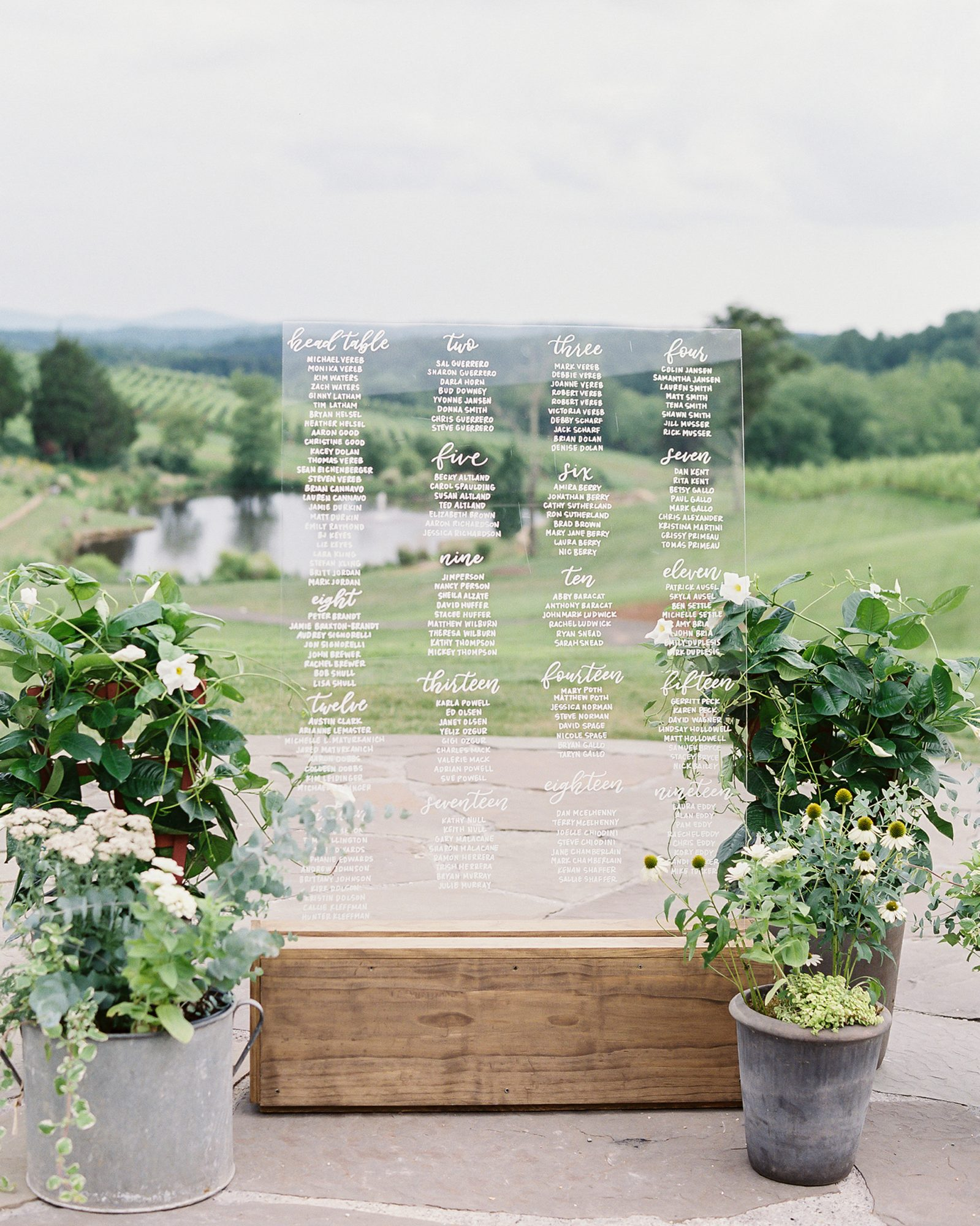 acrylic seating chart featuring vineyard in background