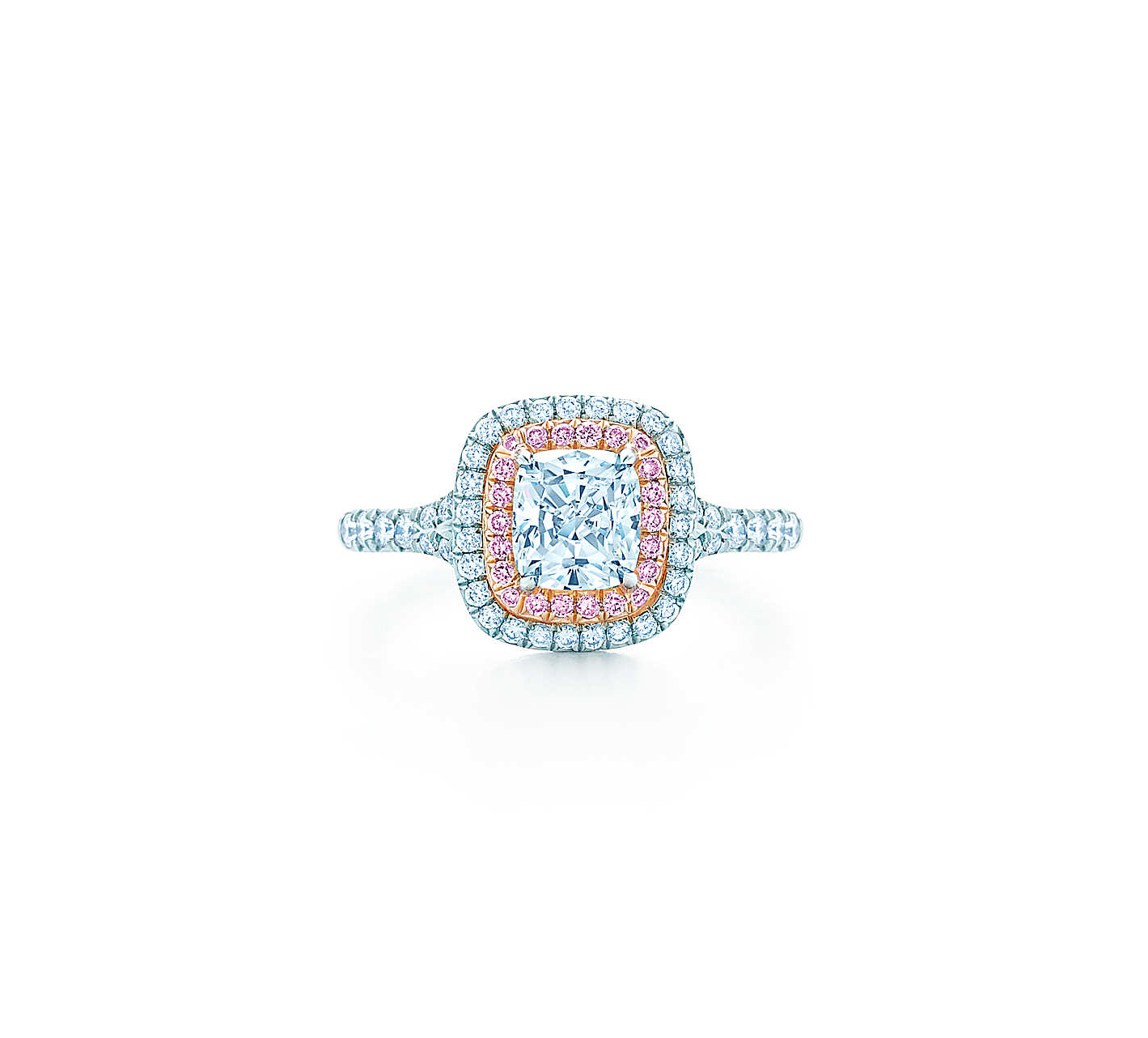 tiffany soleste cushion cut diamond pink diamond halo engagement ring