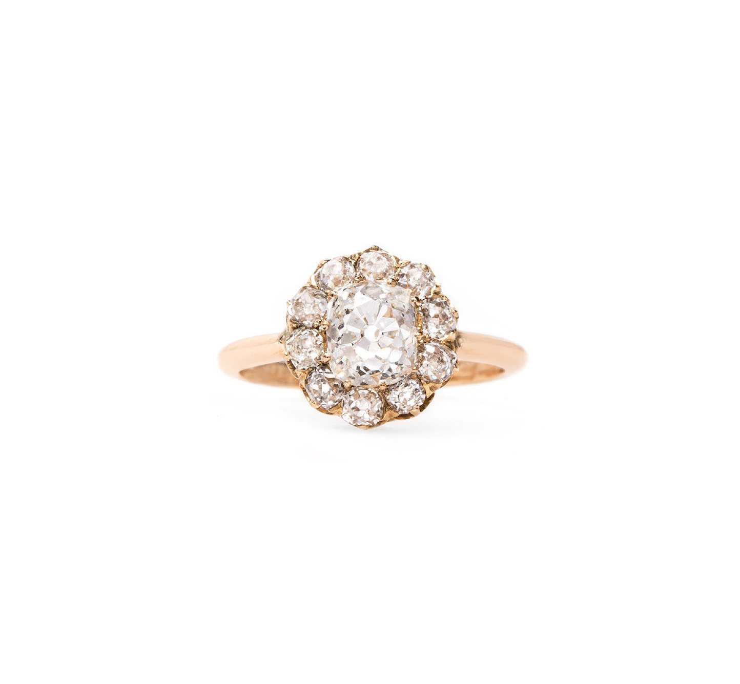 trumpet horn cushion cut diamond engagement ring kirkwood