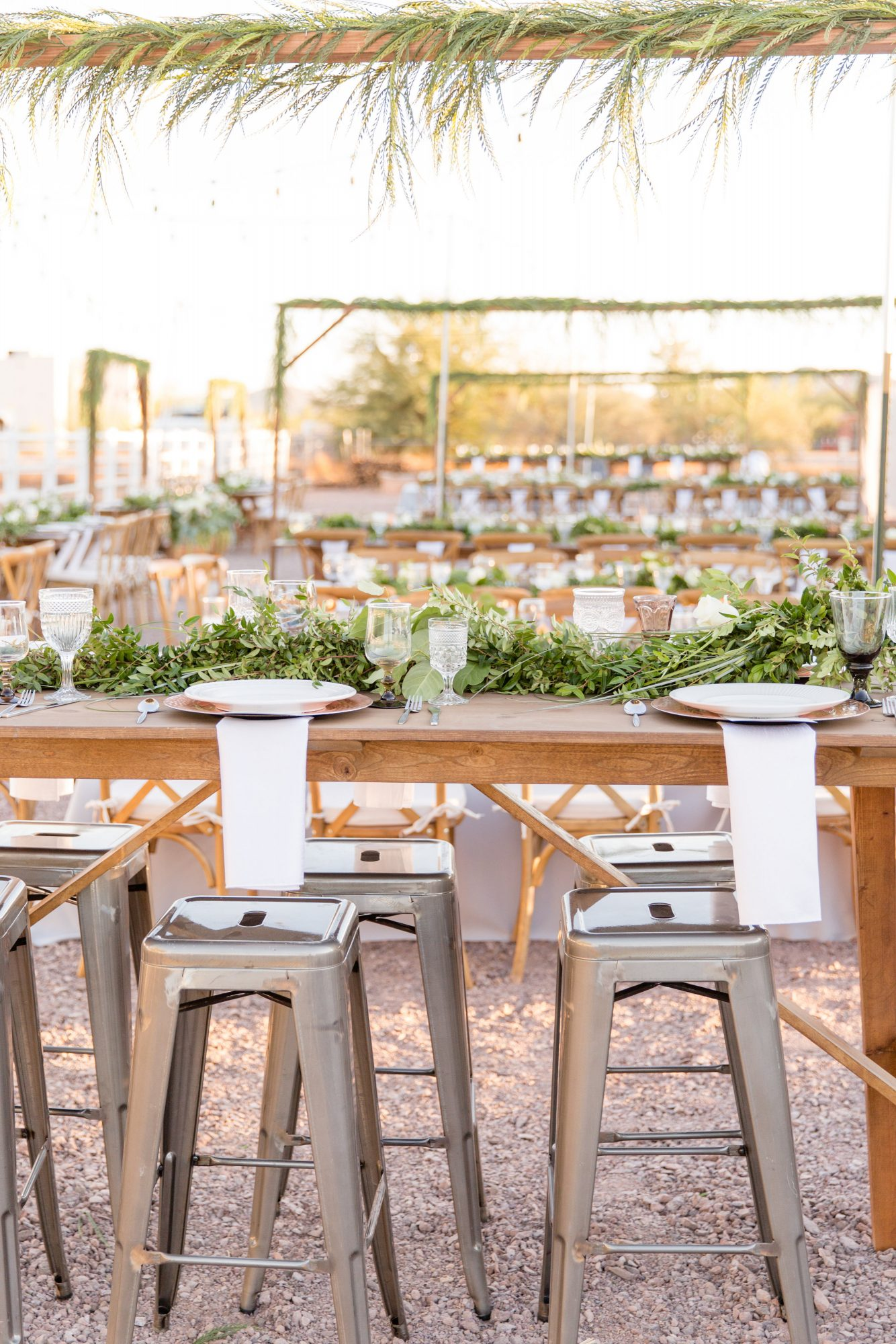 reception table with metal stools