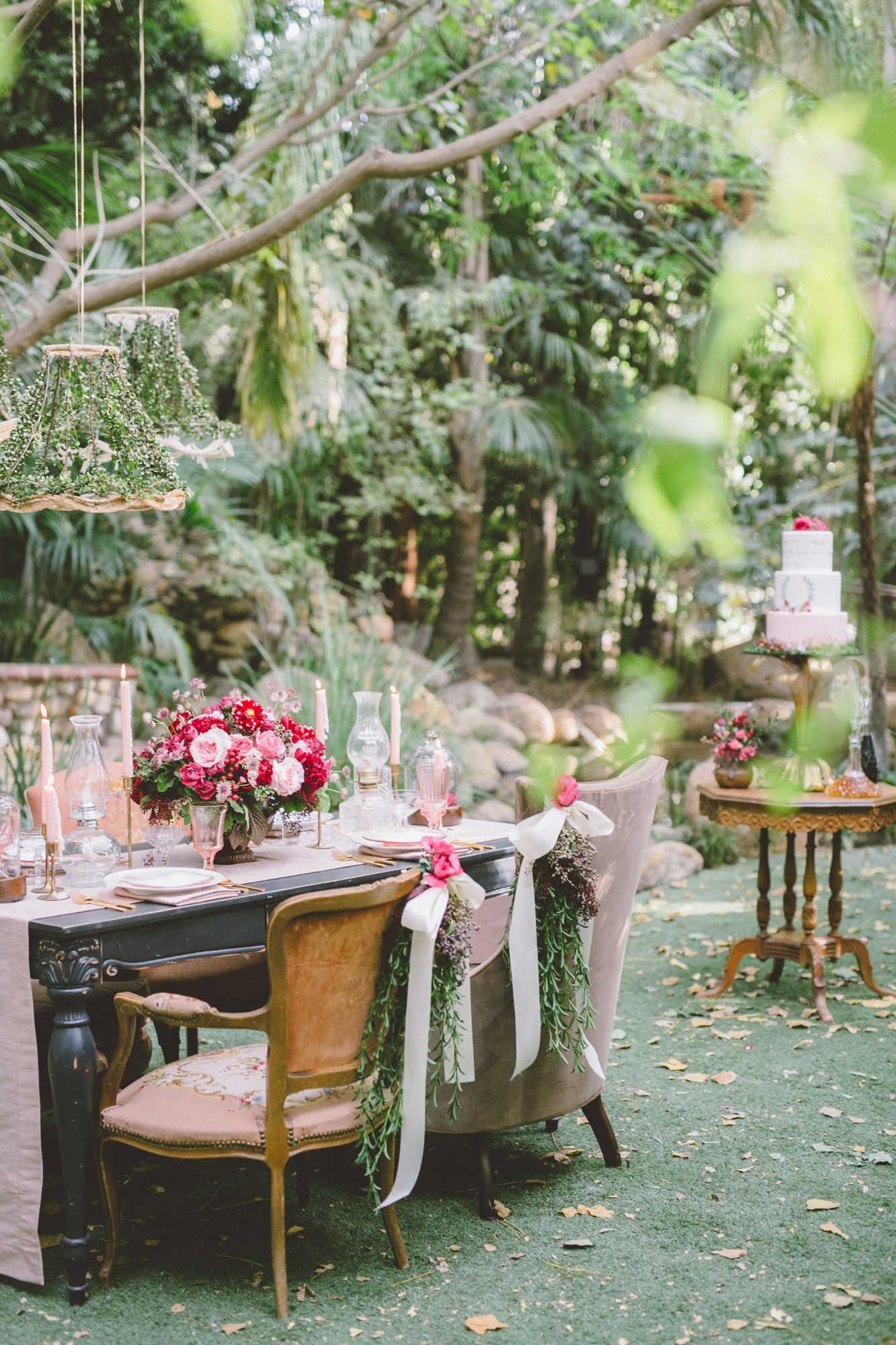 garden reception area with mismatched chairs