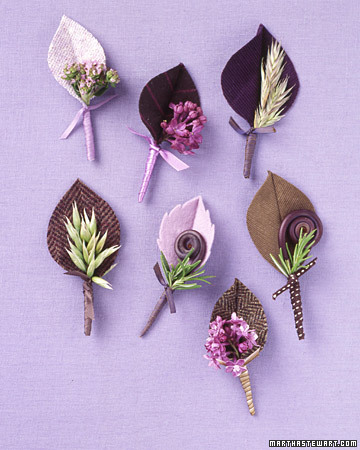 Lilac and Brown Boutonnieres