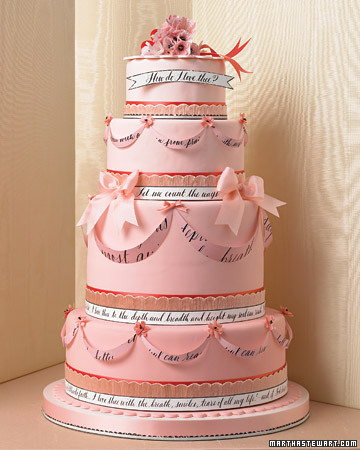 Pink and Red Calligraphy Cake
