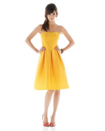 Bright-Yellow Strapless Dress