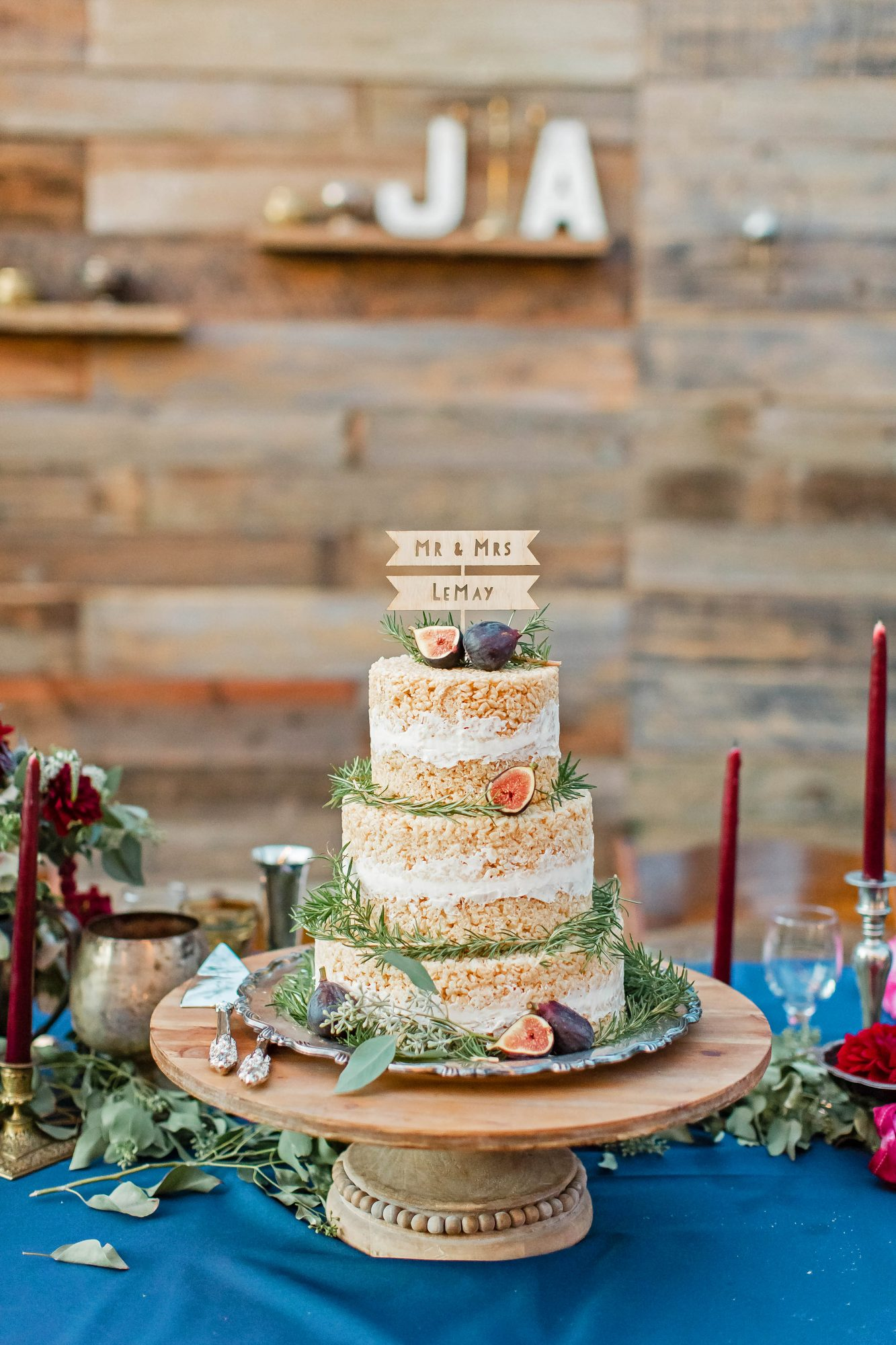 rice krispies wedding cake with figs