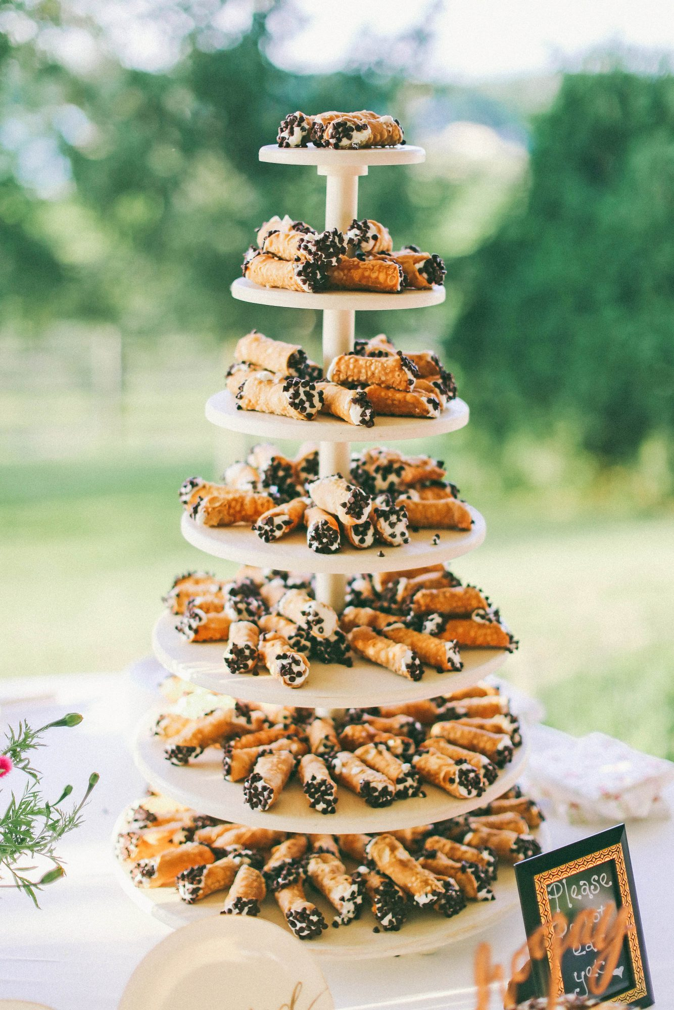 tiered trays of cannolis