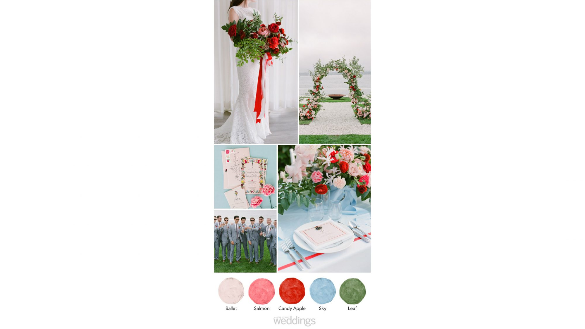 red white blue green wedding color palette ideas