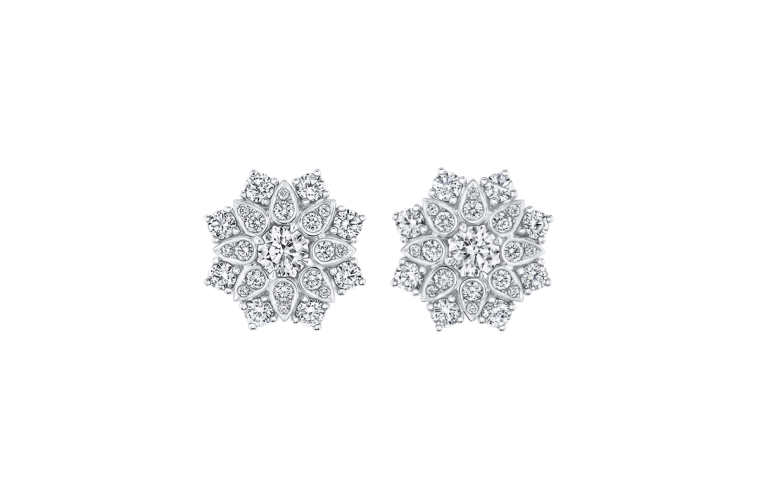 "Wedding Earrings for Every Bride, Harry Winston ""Lotus"" Cluster Diamond Earrings"