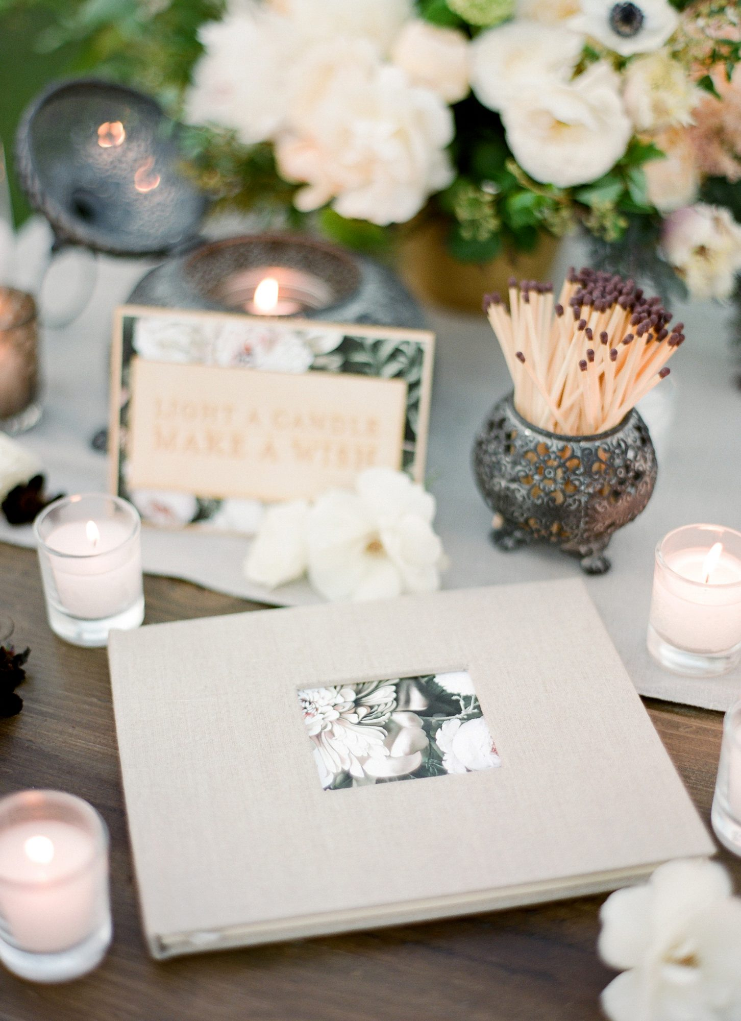 A floral design made this guest book stand out.