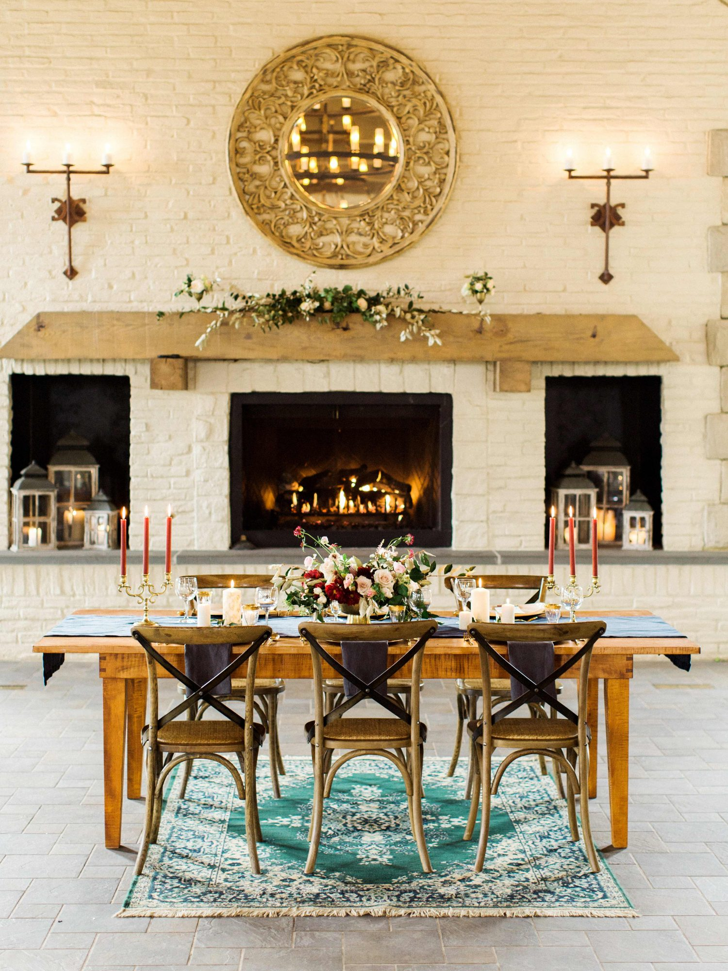 table chairs indoor reception