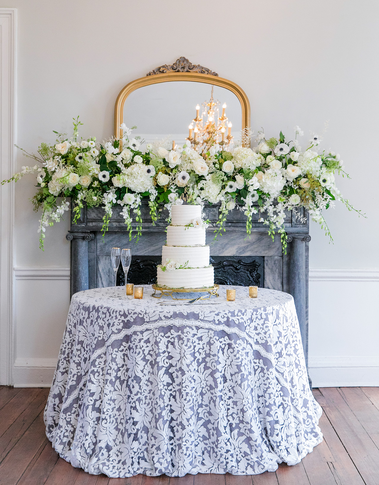 lacey white gray tablecloth cake table