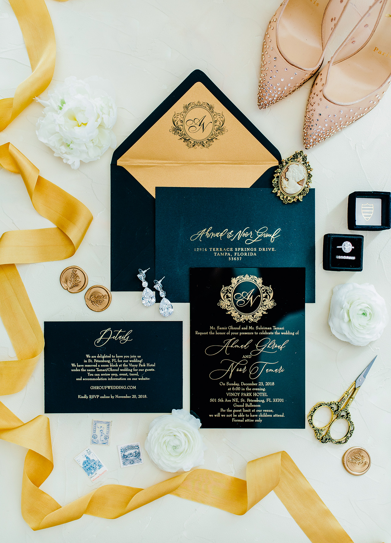 luxe invitation suite black paper gold calligraphy