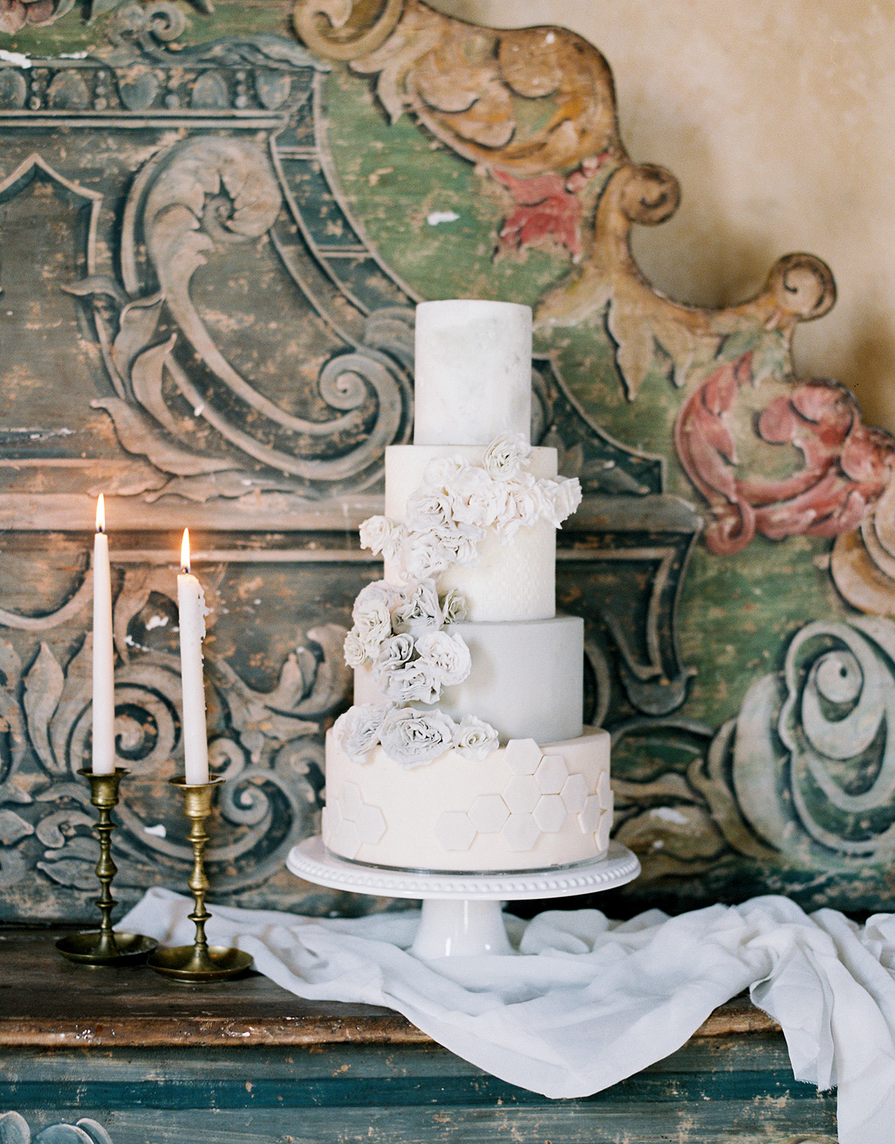 classic winter white wedding cake gray floral design