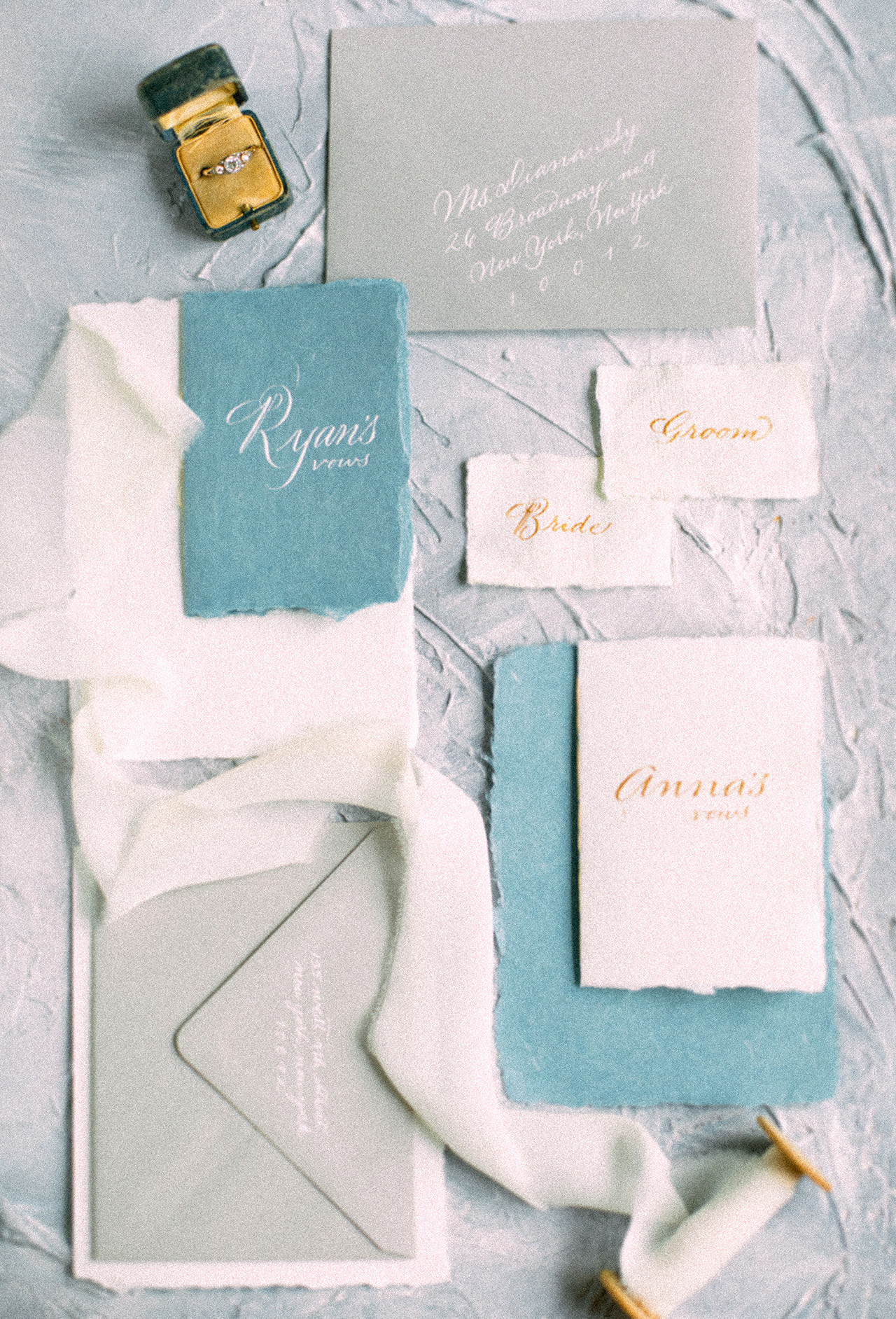 aqua gray white invitation suite name tags