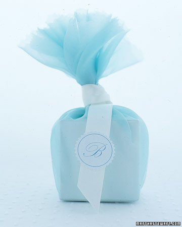 Blue Fabric-Wrapped Favor