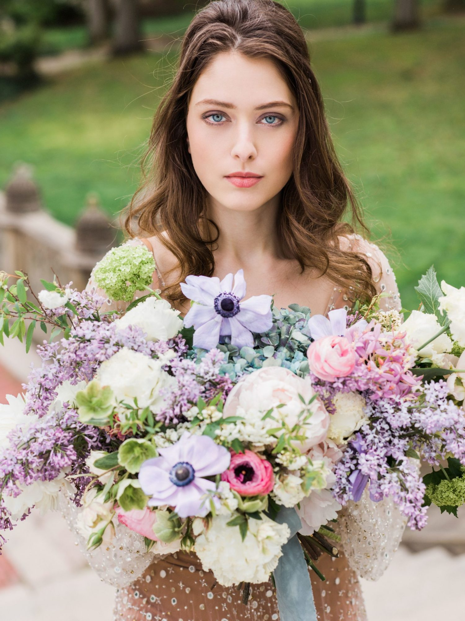 bouquet with purple anemones