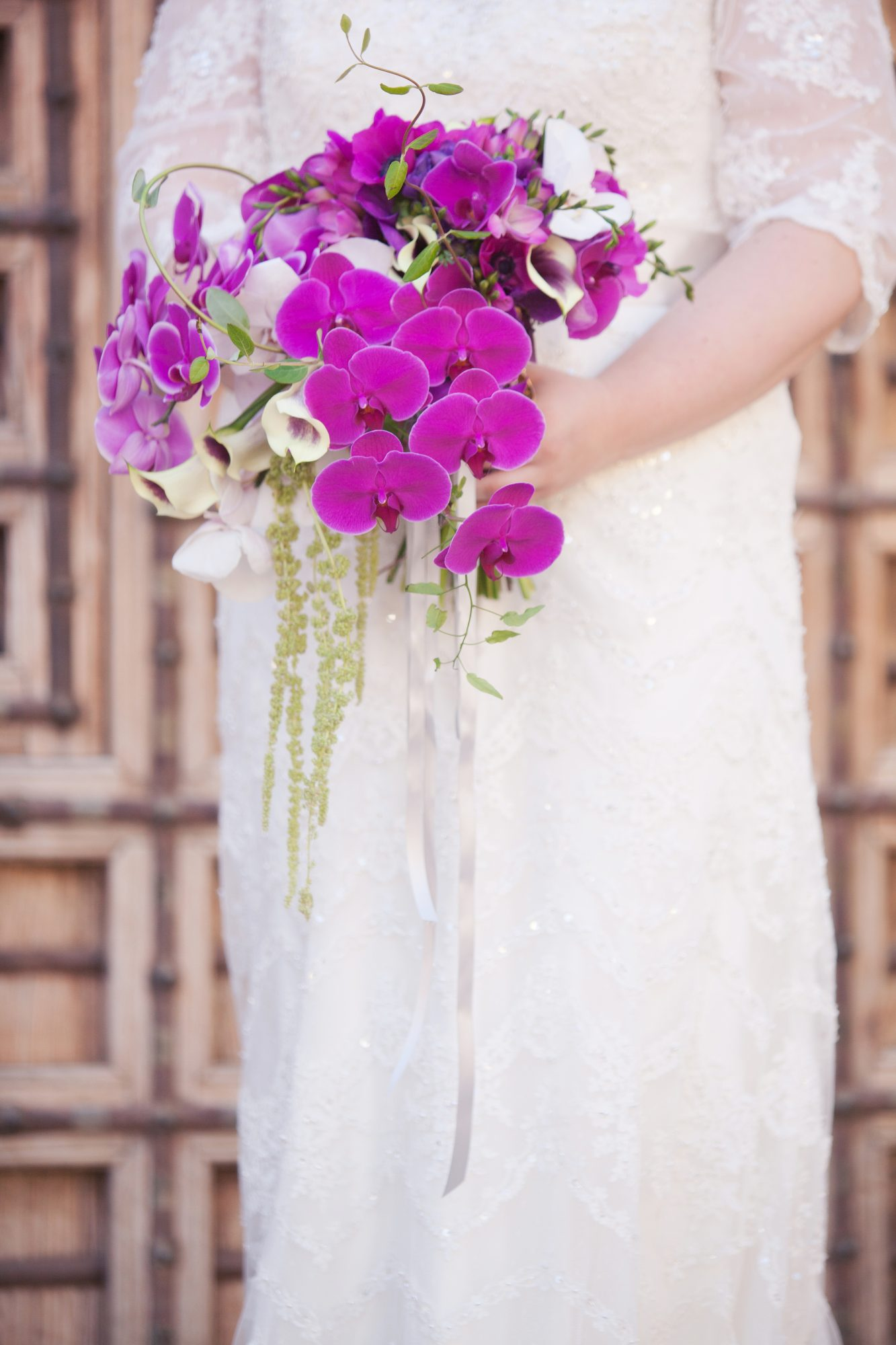 bouquet with purple orchids