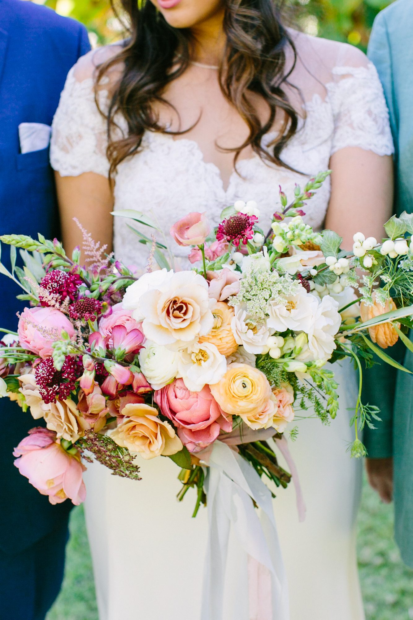 Pastel Bouquet with Orange Ranunculus and Pink Peonies